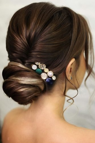 bridal hairstyles romantic low updo ombre hair with pins lenabogucharskaya
