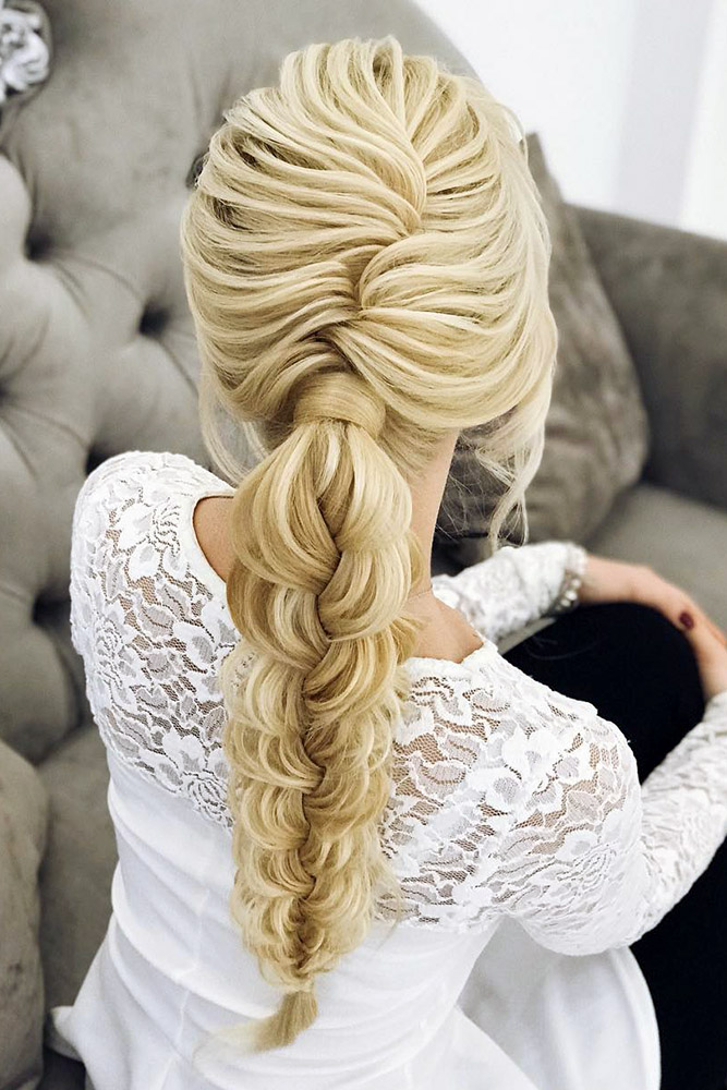 bridal hairstyles volume updo with fishtail braid elstilespb via instagram