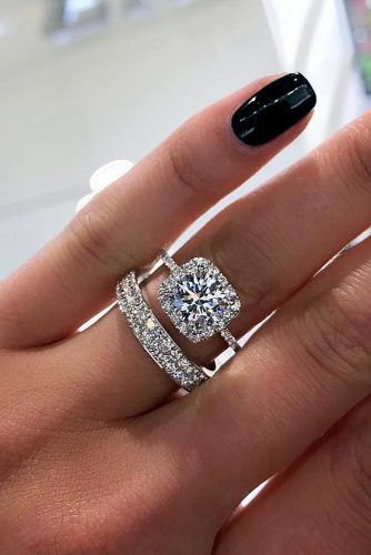 bridal sets halo pave band round cut