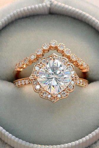 bridal sets rose gold cushion cut stone vintage set