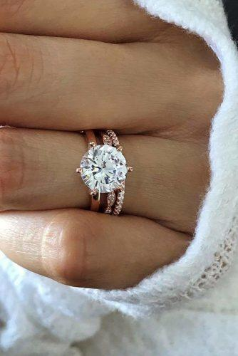 bridal sets round diamond rose gold