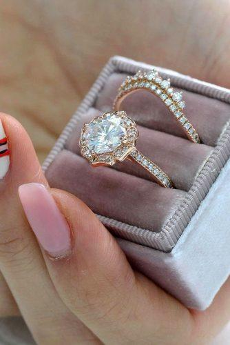 bridal sets vintage rose gold pave band diamond