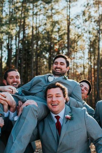 dark grey groomsmen suits with burgundy tie christim photo