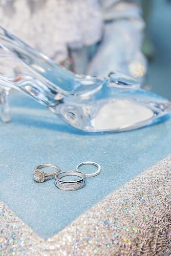 disney wedding cinderella shoe with wedding rings