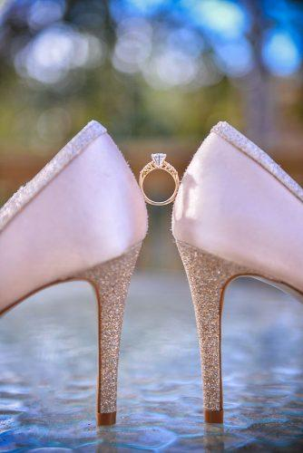 disney wedding princess golden ring and pink shoes crickets photography