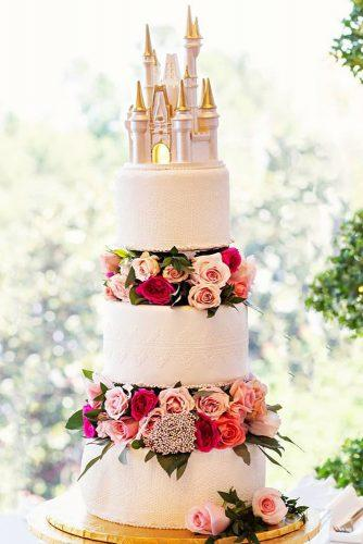 disney wedding tall white with castle on top with fresh roses nathanroot