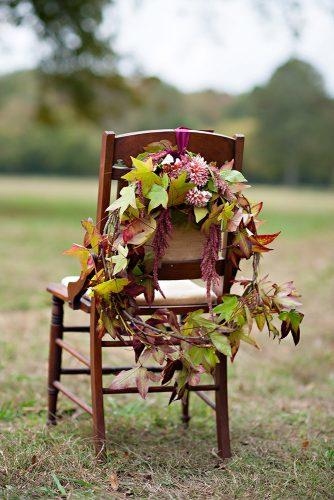fall wedding decorations white chair decorated with wreath of autumn leaves decor leaves julie anne