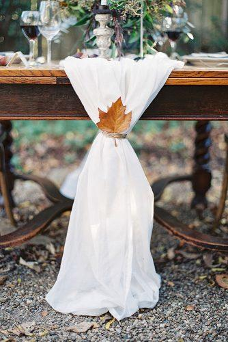 fall wedding decorations white cloth tablerunner with yellow maple leaf decor leah kua photog