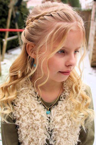 flower girl hairstyles braided half up half down with curls atouchofdazzle