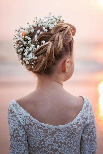 flower girl hairstyles braided updo with baby breath flowers abellasbraids