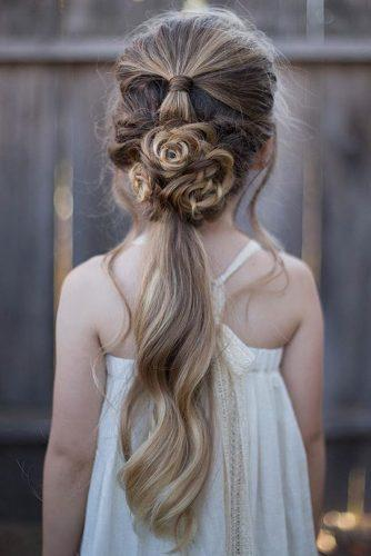 flower girl hairstyles long ponytail down with roses from hair abellasbraids