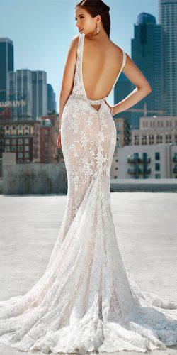 fit and flare beautiful wedding dresses lace low back spaghetti straps kitty chen couture