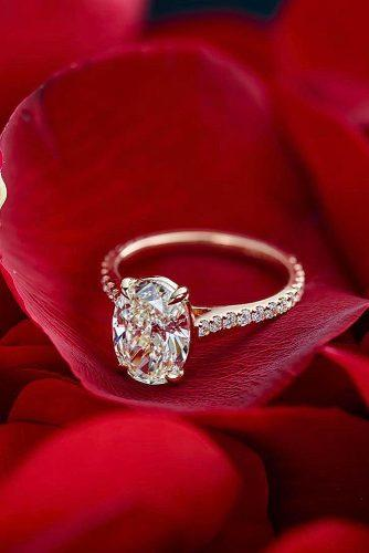 gold engagement rings rose gold oval cut pave band