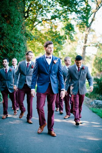 grey groomsmen suits burgundy pants and tie kristina lorraine