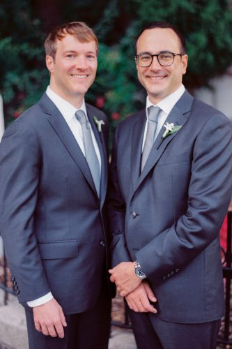 grey groomsmen suits dark colored attire lori paladino