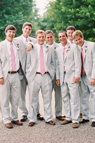 grey groomsmen suits light with pink tie kimboxphotography