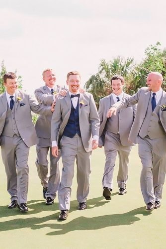grey groomsmen suits vest with blue tie danielle