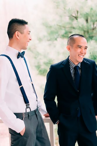 grey groomsmen suits with blue suspenders emily delamater