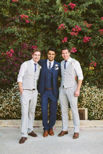 grey groomsmen suits waistcoats with blue tie paula o'hara