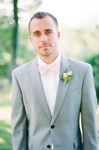 grey groomsmen suits with pink bowtie julie massie