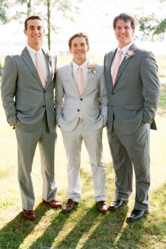 grey groomsmen suits with pink tie austin gros
