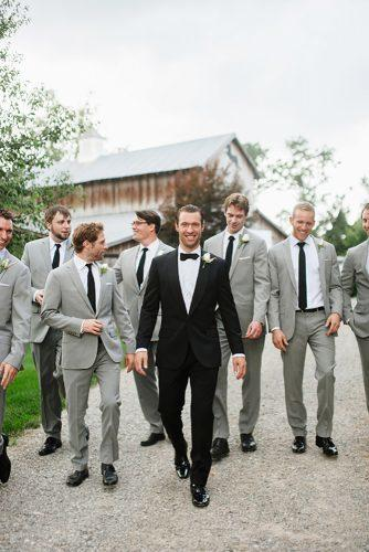 grey groomsmen suits with tie jennie andrews
