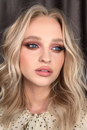 makeup ideas for blue eyes bronze shimmer eyeshadows and nude lips piminova_valery
