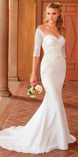 mermaid sweetheart neckline lace sleeves beautiful wedding dresses casablanca bridal