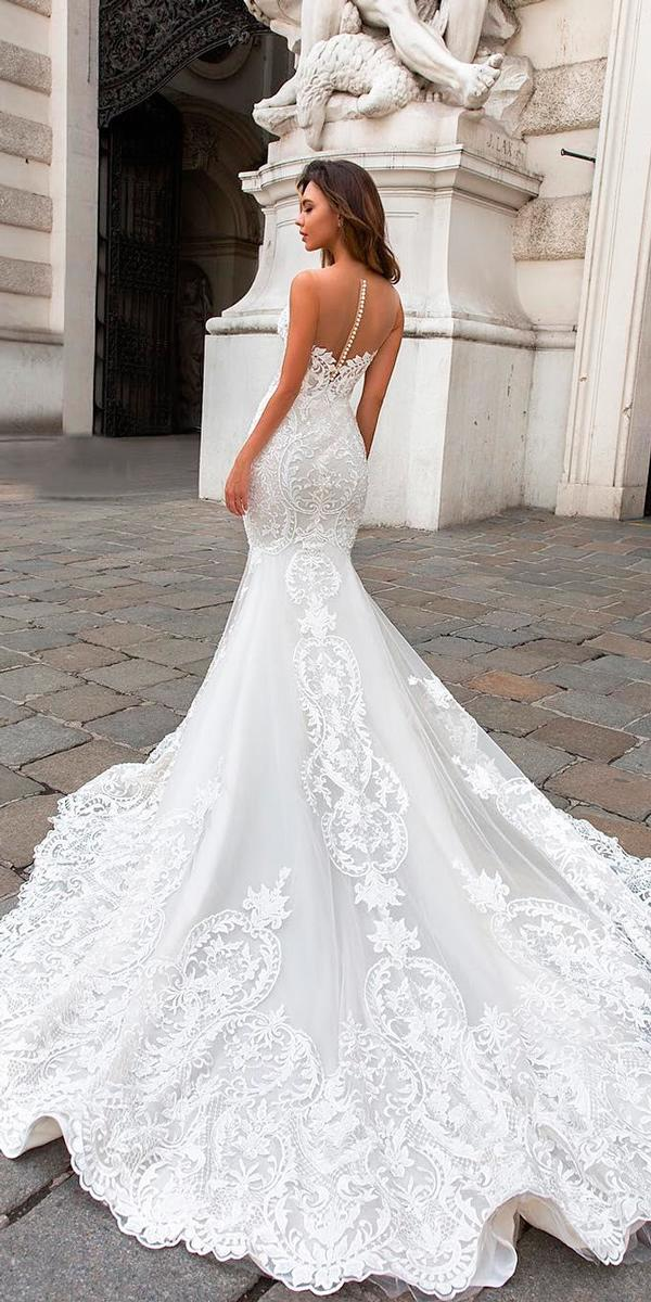 mermaid wedding dresses lace illusion backless sleeveless with train crystal design