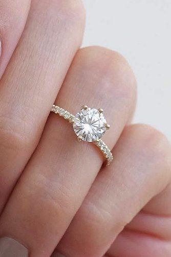 moissanite engagement rings gold round cut solitaire pave band