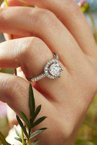 moissanite engagement rings halo round cut pave band