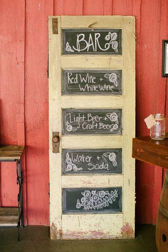 old door wedding decoration ideas bar menu on the door jeannine marie photography