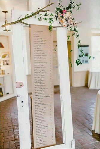 old door wedding decoration ideas table plan on white door wood branches and flowers andria leigh events via instagram
