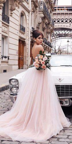 peach blush wedding dresses ball gown low back spaghetti straps romantic mae collection paris