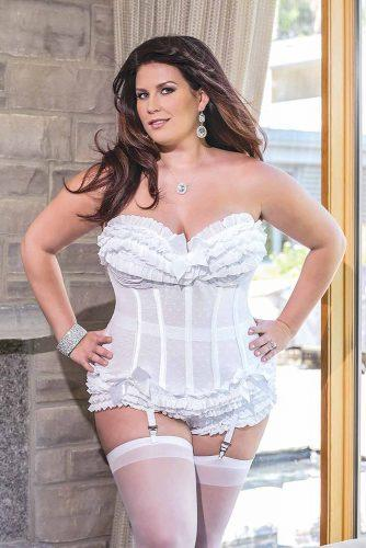 plus size bridal lingerie corset with stokings blushbrasandlingerie