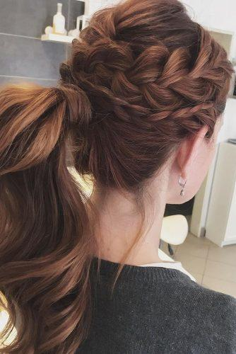 pony tail hairstyles high on red hair with braids lolashairbudapest