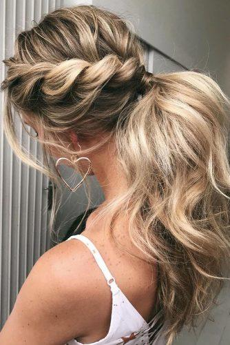 pony tail hairstyles simply modern elegant swept messy textuted on long blonde hair emmachenartistry