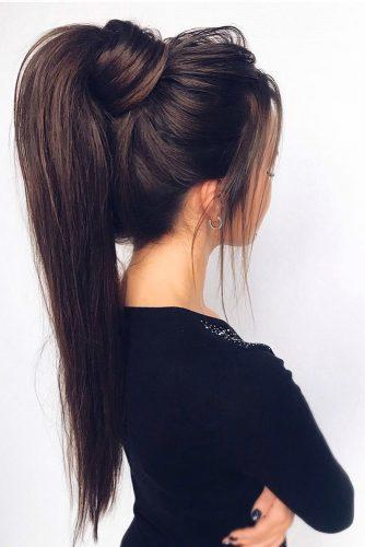 pony tail hairstyles simply modern volume textured on long dark hair_vera