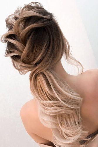 pony tail hairstyles slightly messy textured on blonde ombre elstilespb