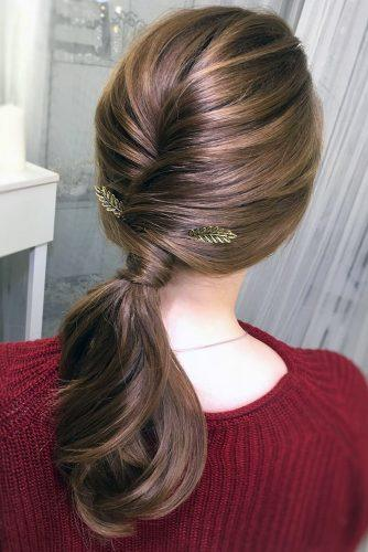pony tail hairstyles smooth swept on dark medium hair with golden leaves accessories tatianawladi