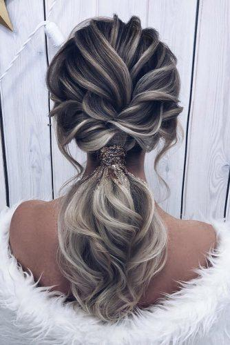 pony tail hairstyles textured on ombre grey hair milagolubeva