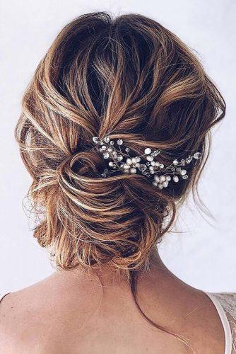 romantic bridal updos wedding hairstyles textured messy swept low bun hairandmakeupbysteph
