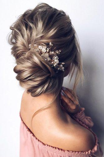 romantic bridal updos wedding hairstyles textured swept low bun with crystal pin hair_vera