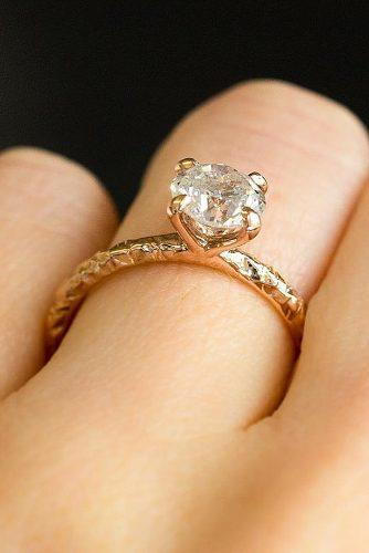 round engagement rings simple solitaire rose gold