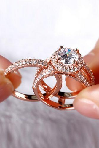 round engagement rings wedding set rose gold