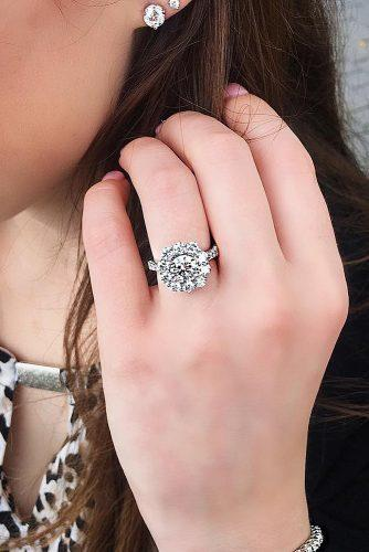 round engagement rings white gold floral halo