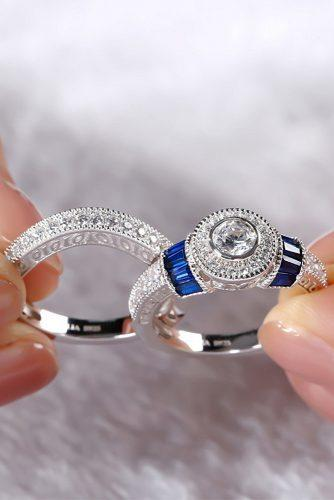 round engagement rings white gold set halo