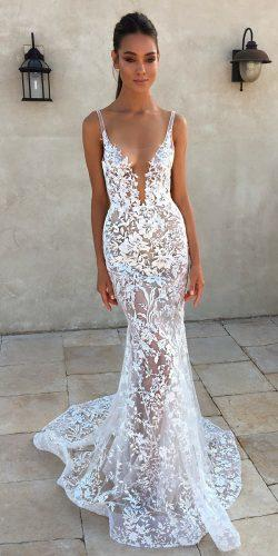 sexy wedding dresses ideas sheath spaghetti straps deep v neckline lace berta
