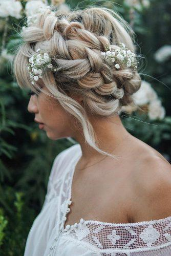 summer wedding hairstyles braided crown on medium hair with baby breath teehair