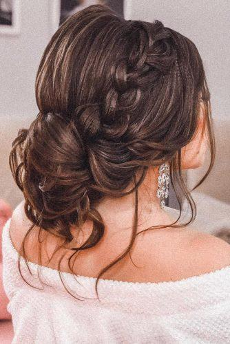 summer wedding hairstyles braided low bun with loose curls pritodavaidosa